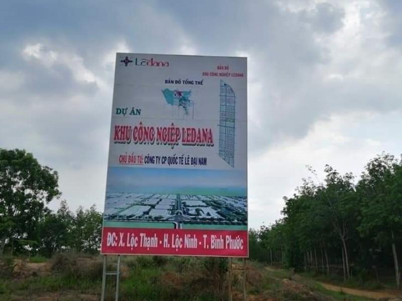 Hình ảnh thực tế bảng quy hoạch tại dự án khu công nghiệp Ledana Bình Phước